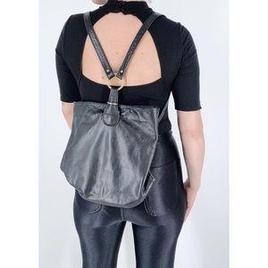 Vintage Vegan Leather Black Backpack Bag